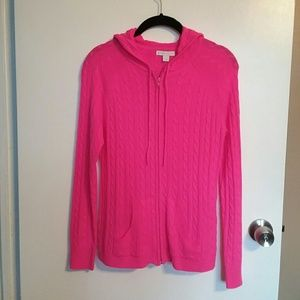 New York & Co. Pink Zip Cardigan With Hood